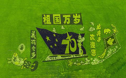 北井子庆祝祖国万岁稻田图案【媒体用图】(仅限媒体用图使用,不可用于商业用途)图片