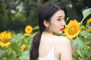 向日葵中的少女图片