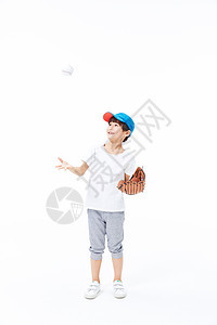 男孩手戴棒球手套图片