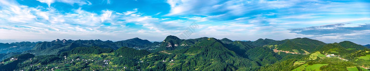 恩施山川云朵全景图图片