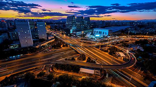 西直门立交桥夜晚的全景图片