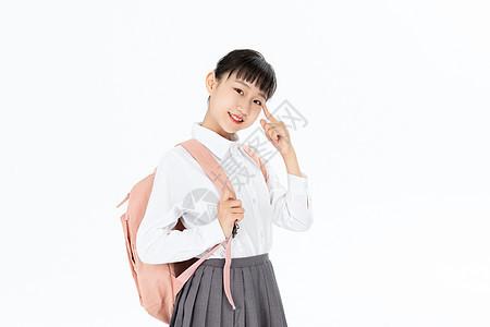 背着书包思考的中学生图片