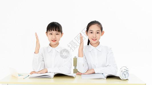 中学生听课举手图片