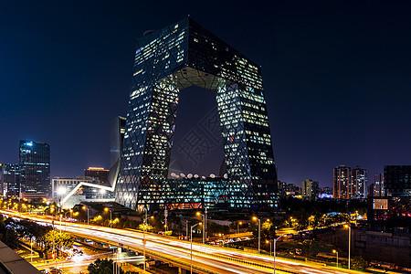 北京中央电视台大楼夜晚图片