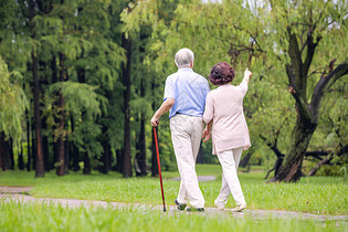 老年夫妇早晨户外散步背影图片