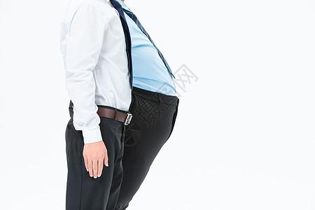 肥胖商务男性比肚子图片