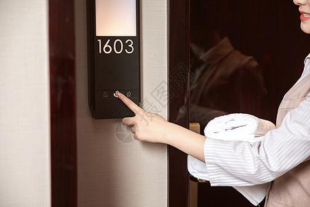 酒店管理保洁员按门铃图片