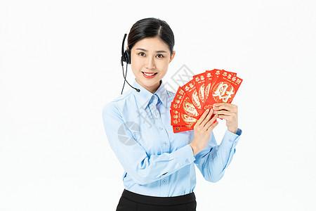 商务美女贺新年发红包图片