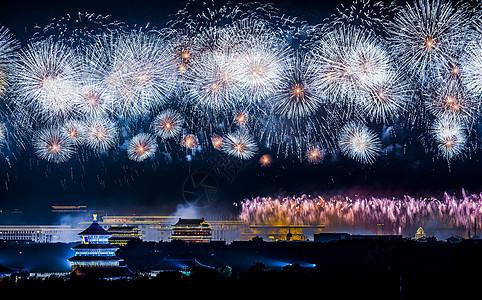 北京天坛国庆期间火树银花图片