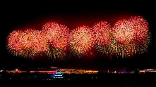 北京天坛的红色烟花红红火火图片