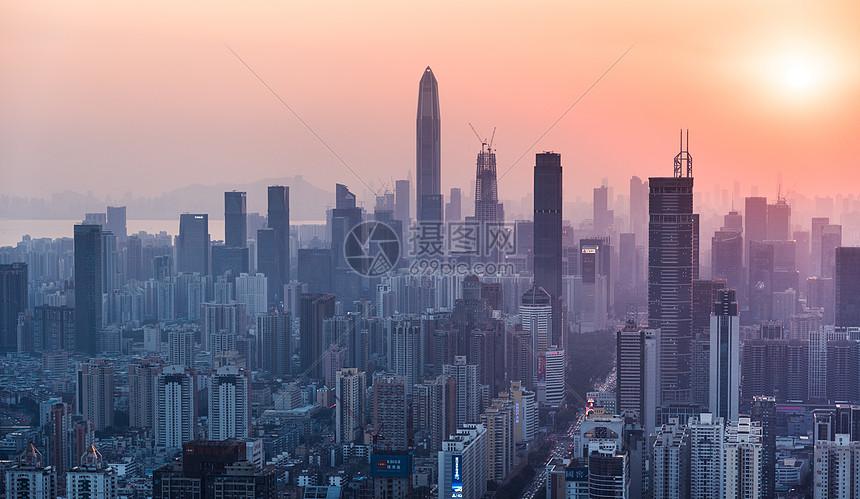 深圳城市夕阳剪影图片