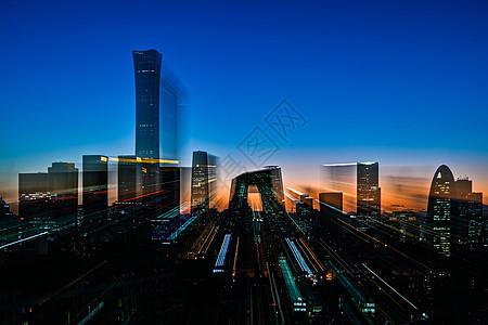 北京CBD城市夜景风光的建筑图片