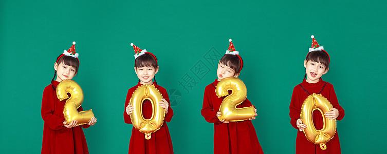 圣诞跨年节日女孩欢乐形象图片