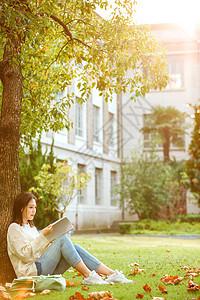 甜美女生户外看书图片