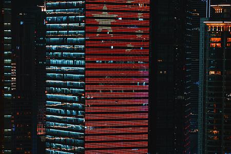 上海国庆70周年红旗大楼夜景灯光图片