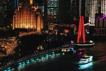 上海解放纪念碑夜景图片