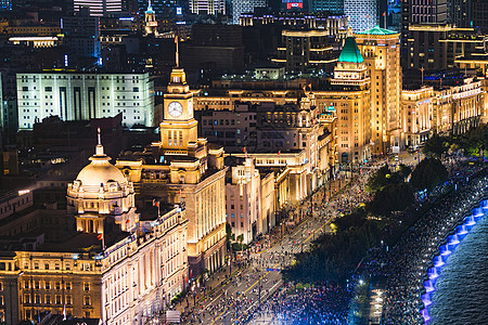 上海国庆70周年外滩灯光夜景图片