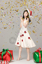 欢乐圣诞美女图片