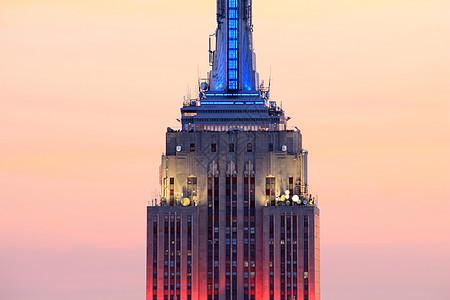 美国纽约黄昏帝国大厦特写图片