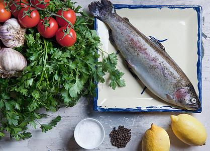 彩虹鳟鱼食材静物图图片