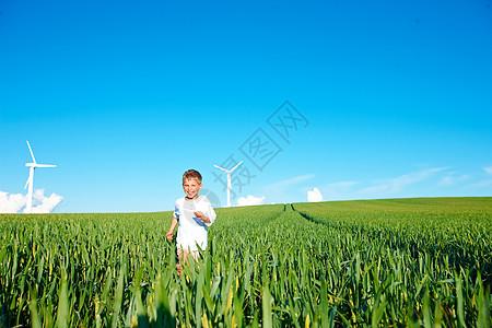 在草地上玩耍的男孩图片