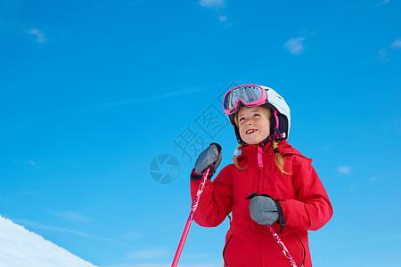 女孩滑雪图片