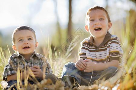 两个男孩在田里笑图片