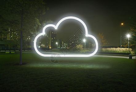 城市公园夜光云符号图片
