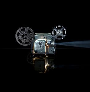 带卷轴的发光电影放映机图片