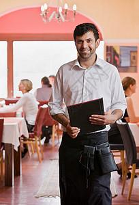 拿着菜单的服务员画像图片