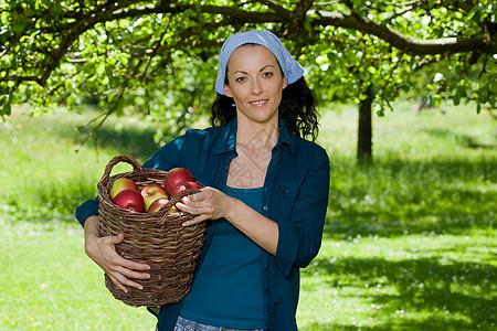 拿着苹果篮子的女人图片