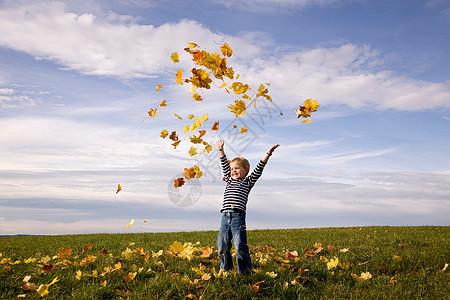 男孩向空中撒树叶图片