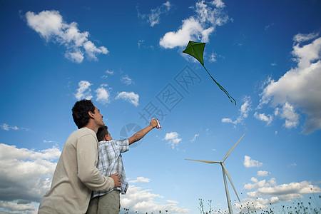 父子放风筝图片