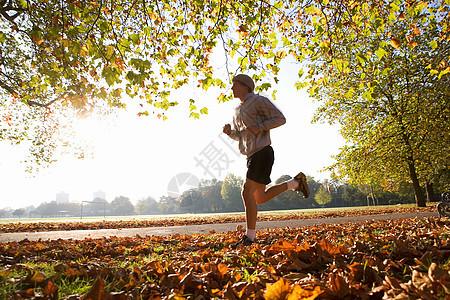 在公园跑步的年轻人图片