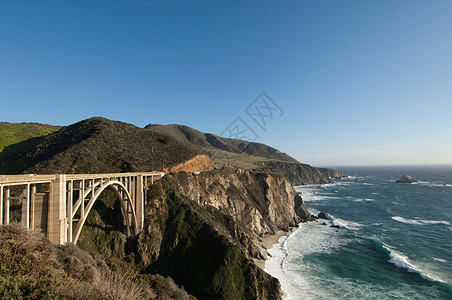 美国加利福尼亚州大苏尔市1号公路上的比克斯比大桥图片