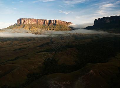 壮丽的罗雷马山,耸立在委内瑞拉大萨巴纳森林景观之上图片