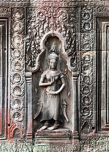 柬埔寨暹粒吴哥窟塔普罗姆神庙的浅浮雕图片