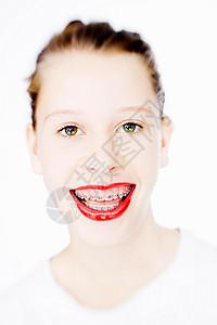 涂红色口红的女人图片