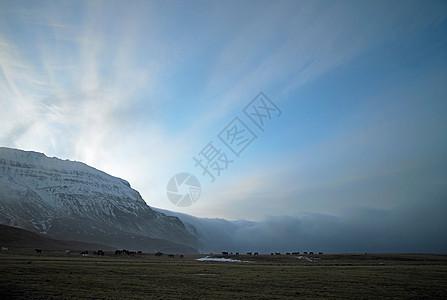 乡村景观中的雪山图片