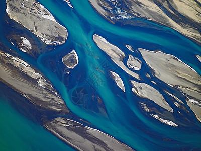 冰岛南部Thjorsa河鸟瞰图图片