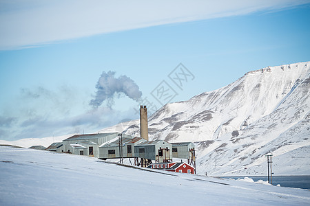 挪威斯瓦尔巴隆伊尔拜恩工厂山景图片