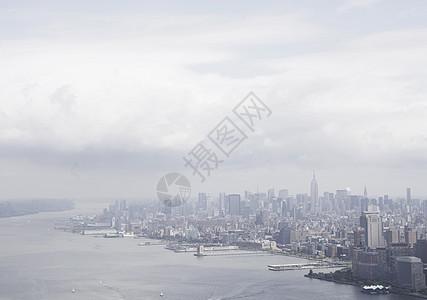 美国纽约哈德逊河和曼哈顿鸟瞰图图片