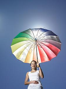 拿着太阳伞的女孩图片