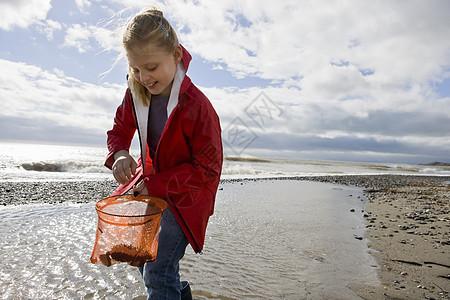 小女孩在沙滩上看渔网图片