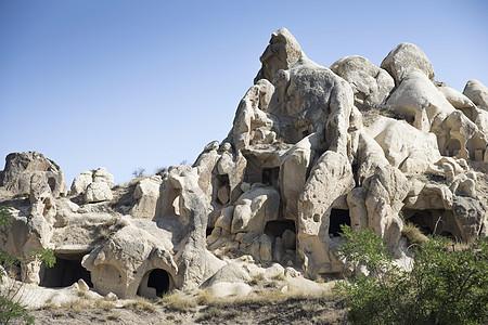 土耳其安纳托利亚卡帕多西亚乌奇沙村岩石层视图图片