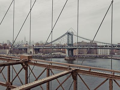 美国纽约布鲁克林大桥的曼哈顿大桥图片