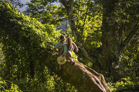 美国夏威夷,考艾岛,一对浪漫的中年夫妇在树枝上互相凝视图片