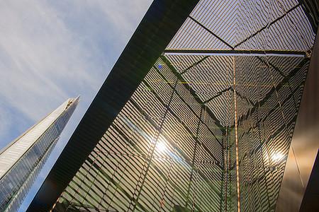 英国大楼的低角度仰拍图片