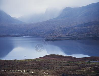 苏格兰阿森特湖和山脉图片