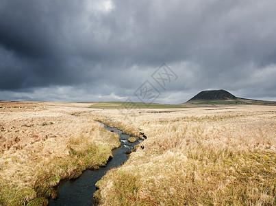 英国北爱尔兰安特里姆县沼泽和斯莱米什山景观图片